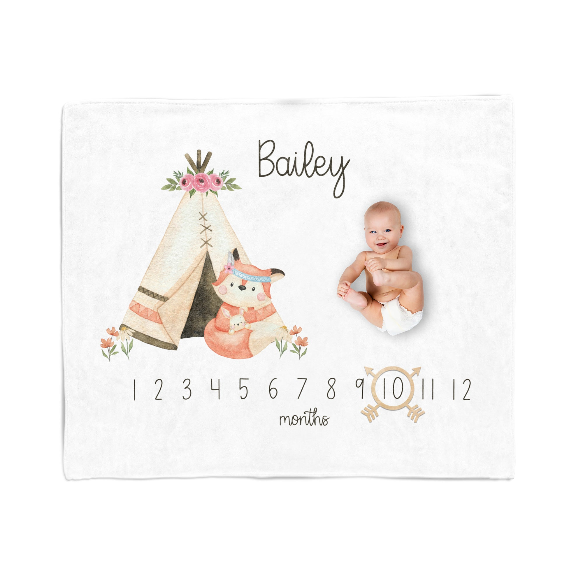 Personalized Milestone Blanket, Woodland Girl, Fox Nursery