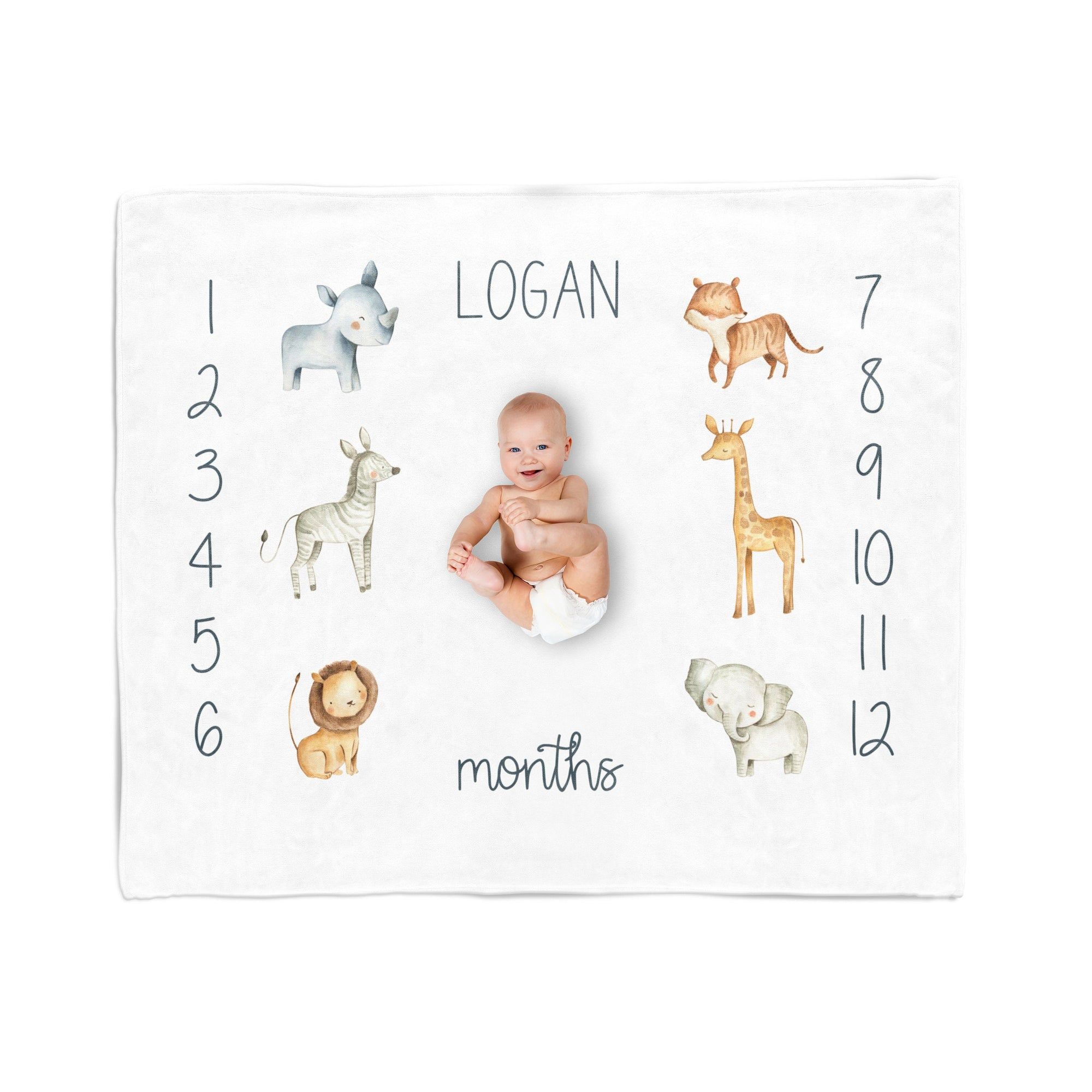 Personalized Baby Blanket, Safari, Minky Milestone Blanket