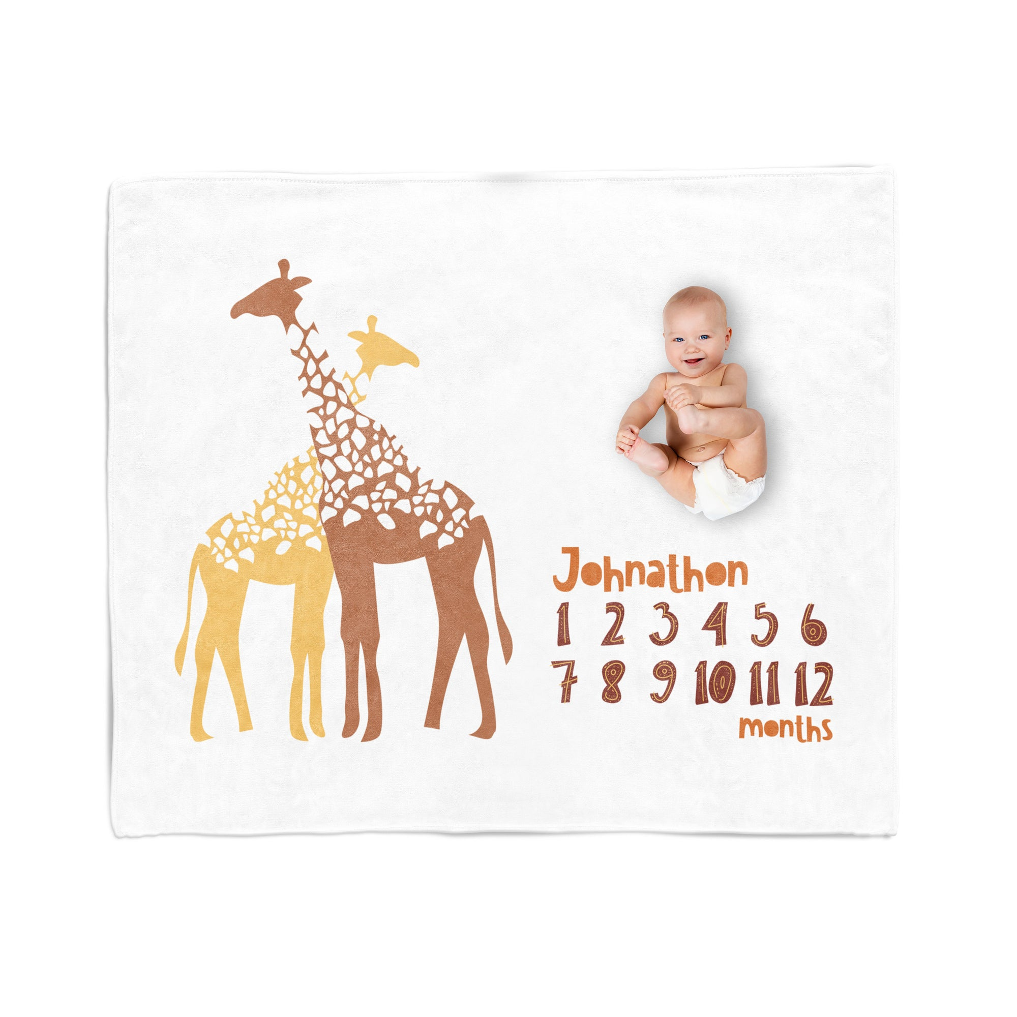 Personalized Baby Blanket, Gender Neutral, Milestone Blanket, Giraffe Safari Nursery