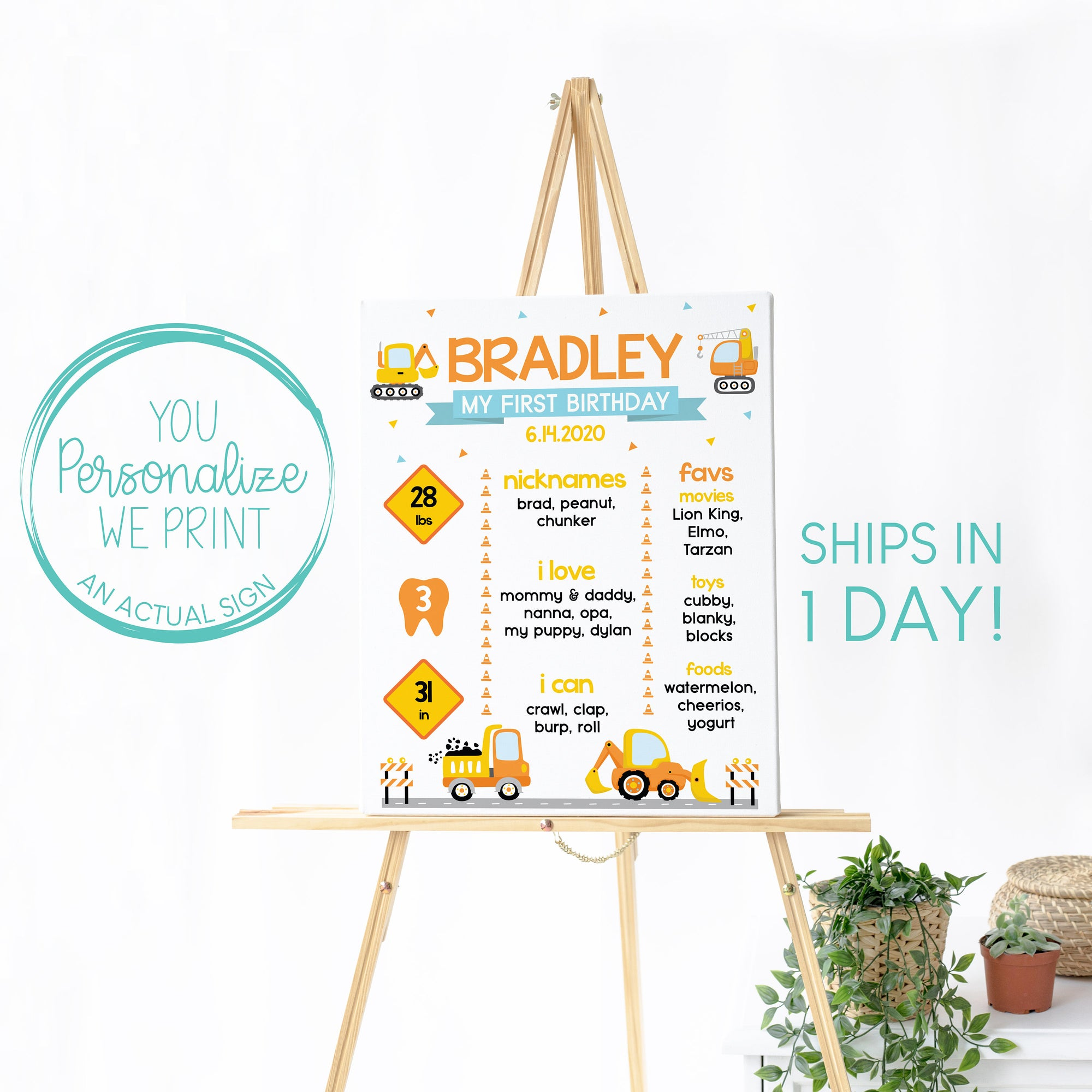 Construction Birthday Sign, Editable Chalkboard, Reusable Whiteboard