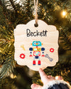 Christmas Ornaments for Kids, Custom Wood Christmas Ornaments, Personalized Robot Ornament, First Christmas Baby