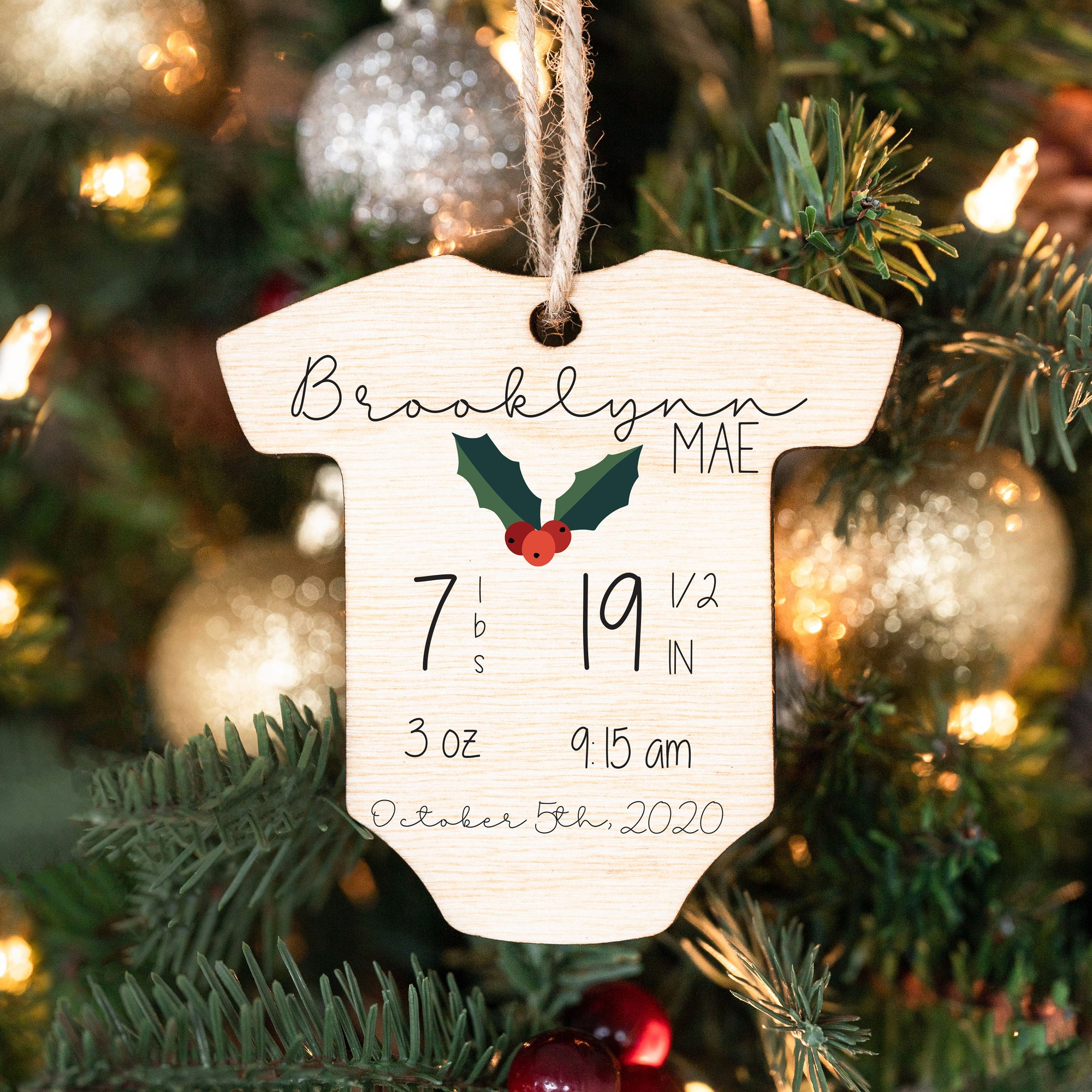 Baby's First Christmas Ornament, Personalized Wood Christmas Ornaments, Birth Announcement Onesie Ornaments, First Christmas Baby