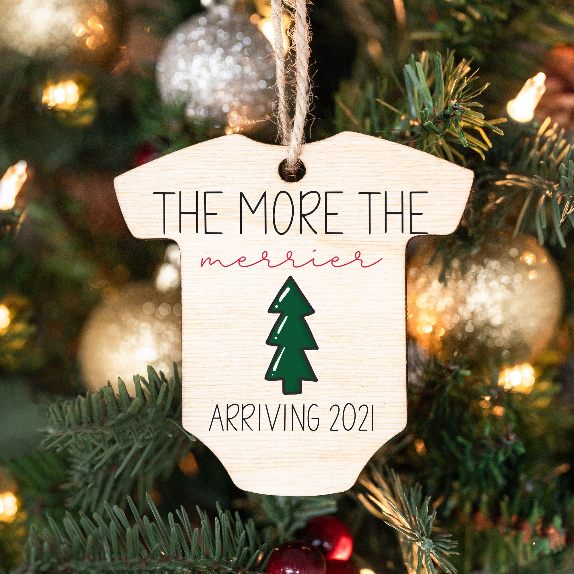 Baby Announcement Ornament, Wood Christmas Ornaments, Arriving 2021 Ornaments, Expecting Ornament