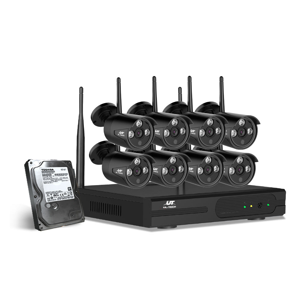 UL-Tech CCTV Wireless Security System 2TB 8CH NVR 1080P 8 Camera Sets