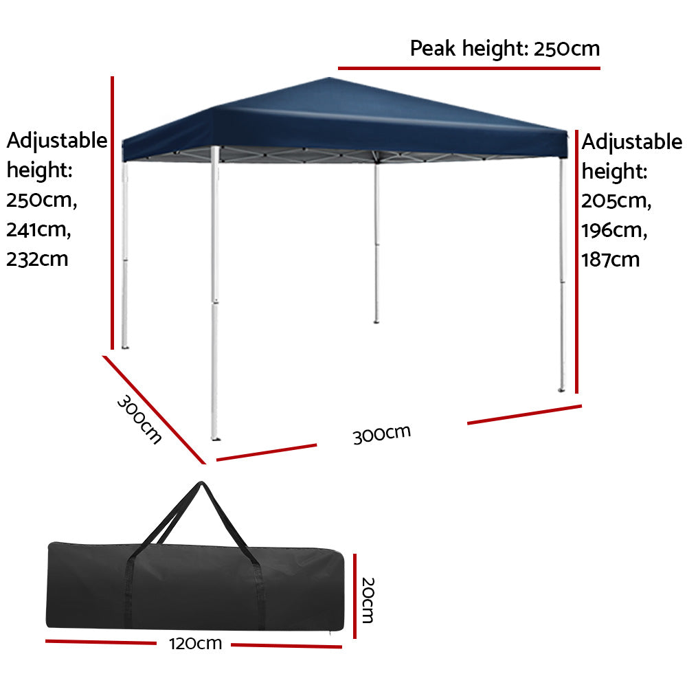 Instahut 3x3m Pop Up Gazebo Outdoor Marquee Tent Wedding Party Canopy Blue
