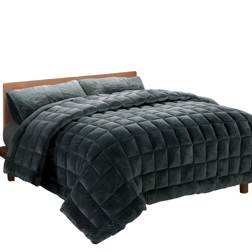 Giselle Bedding Faux Mink Quilt Fleece Throw Blanket Comforter Duvet Charcoal Single