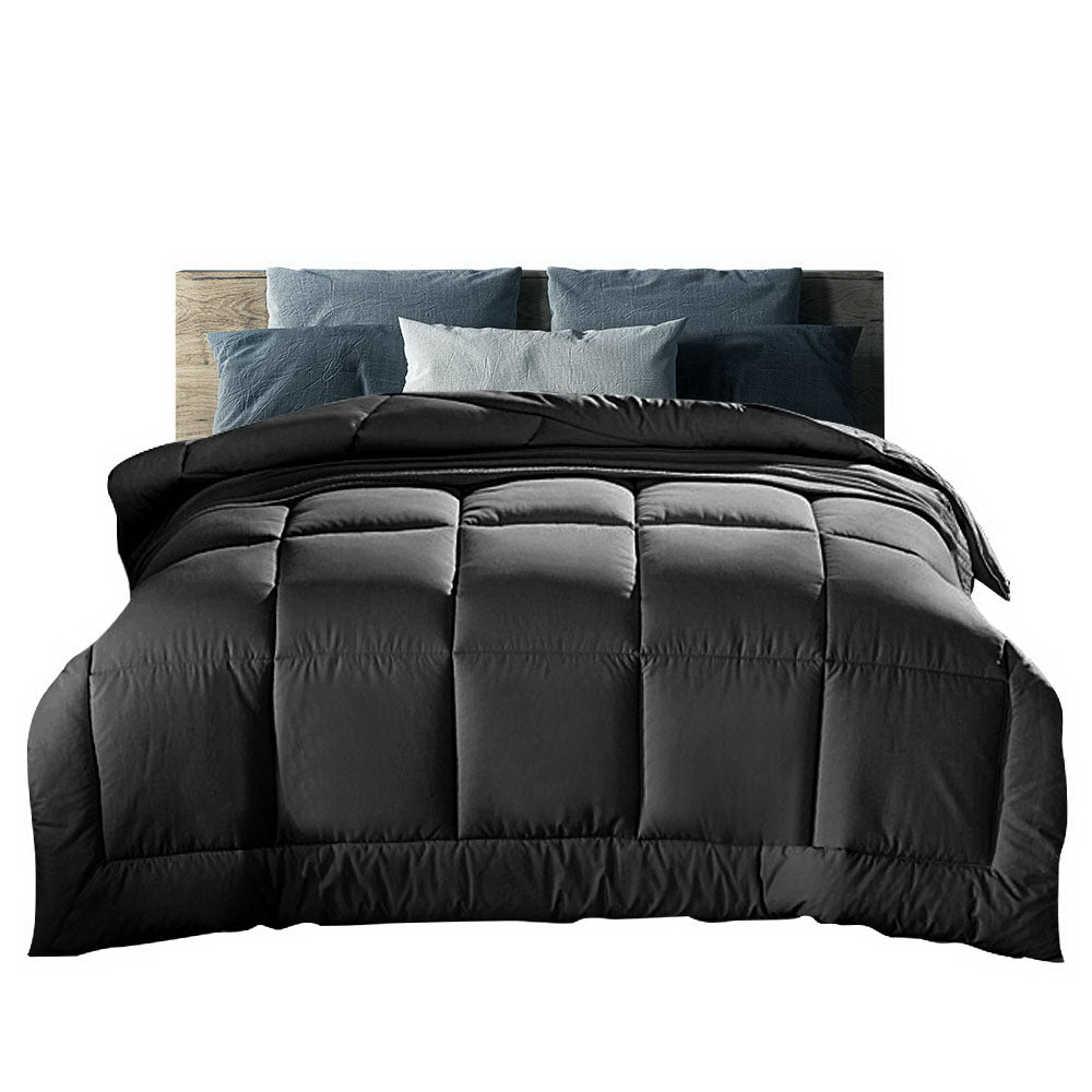 Giselle Bedding 400GSM Microfiber Microfibre Quilt Duvet Cover Doona Down Altern King Charcoal
