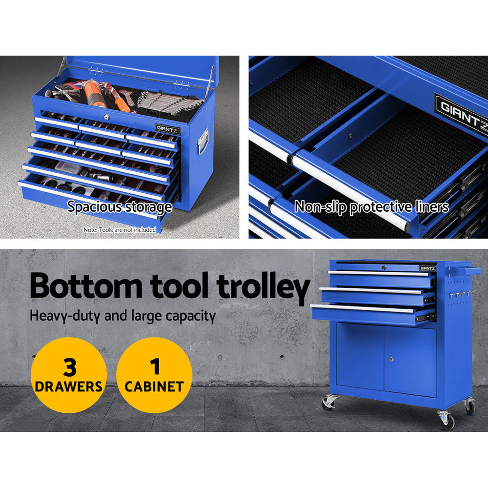 Giantz Tool Box Chest Cabinet Trolley Cart Garage Mechanic Toolbox Storage Blue