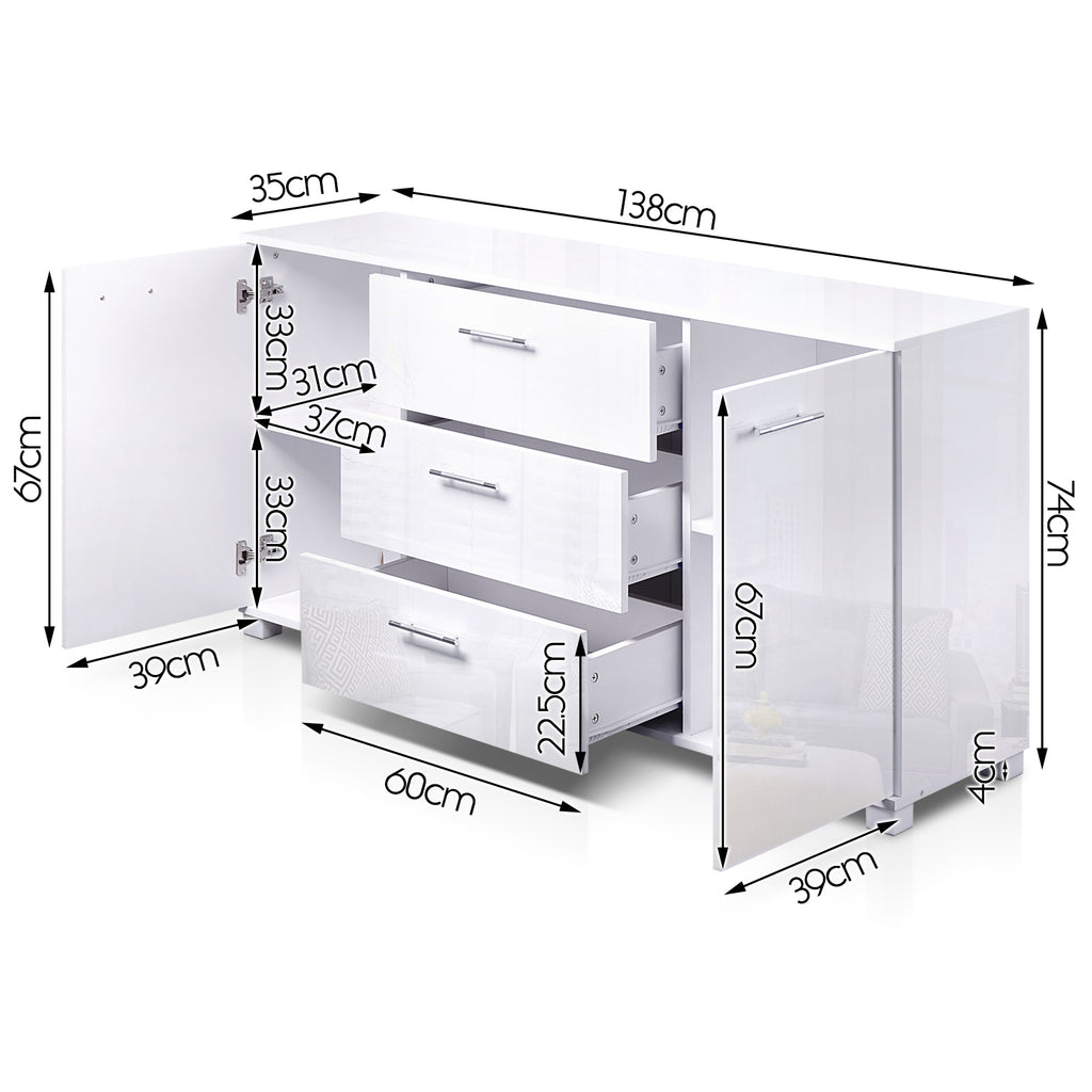 Artiss High Gloss Sideboard Storage Cabinet Cupboard - White