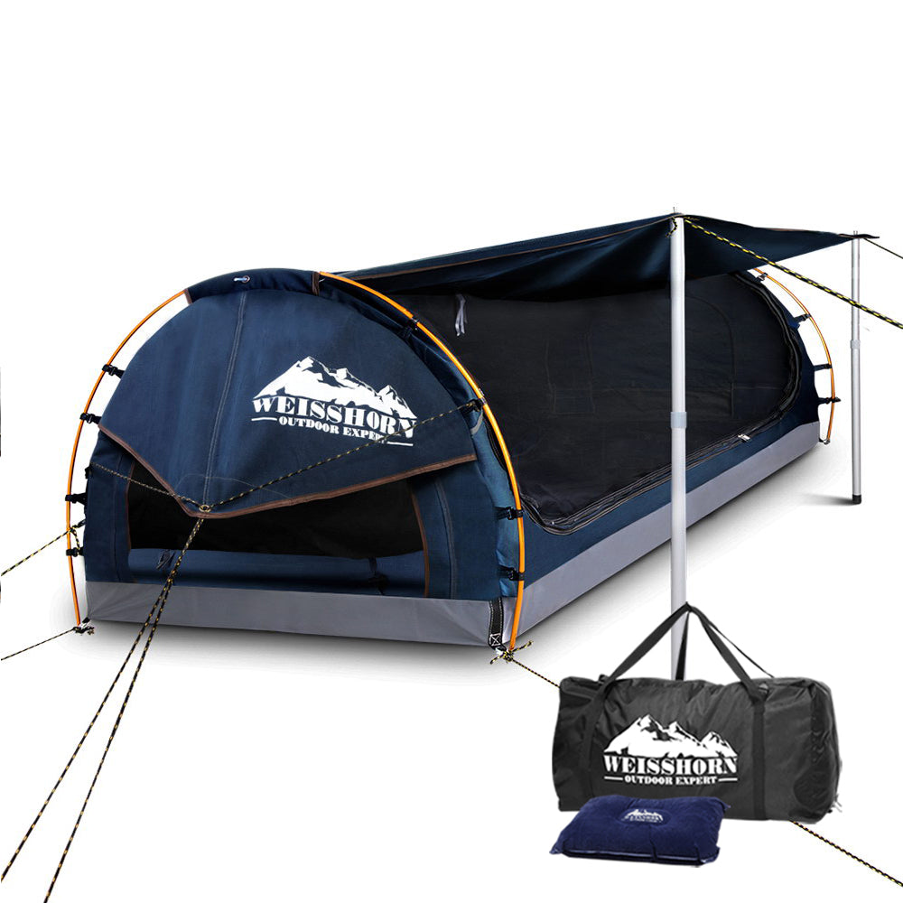 Weisshorn King Single Swag Camping Swag Canvas Tent - Dark Blue