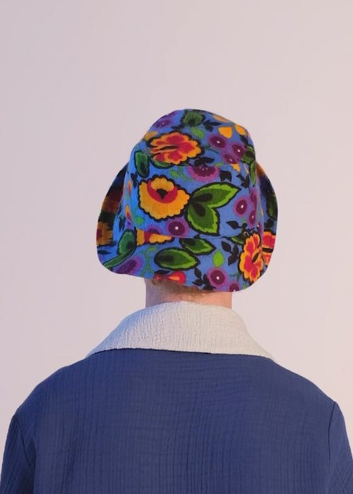 virtual nature hat blue: sustainable 100% cotton bucket hat