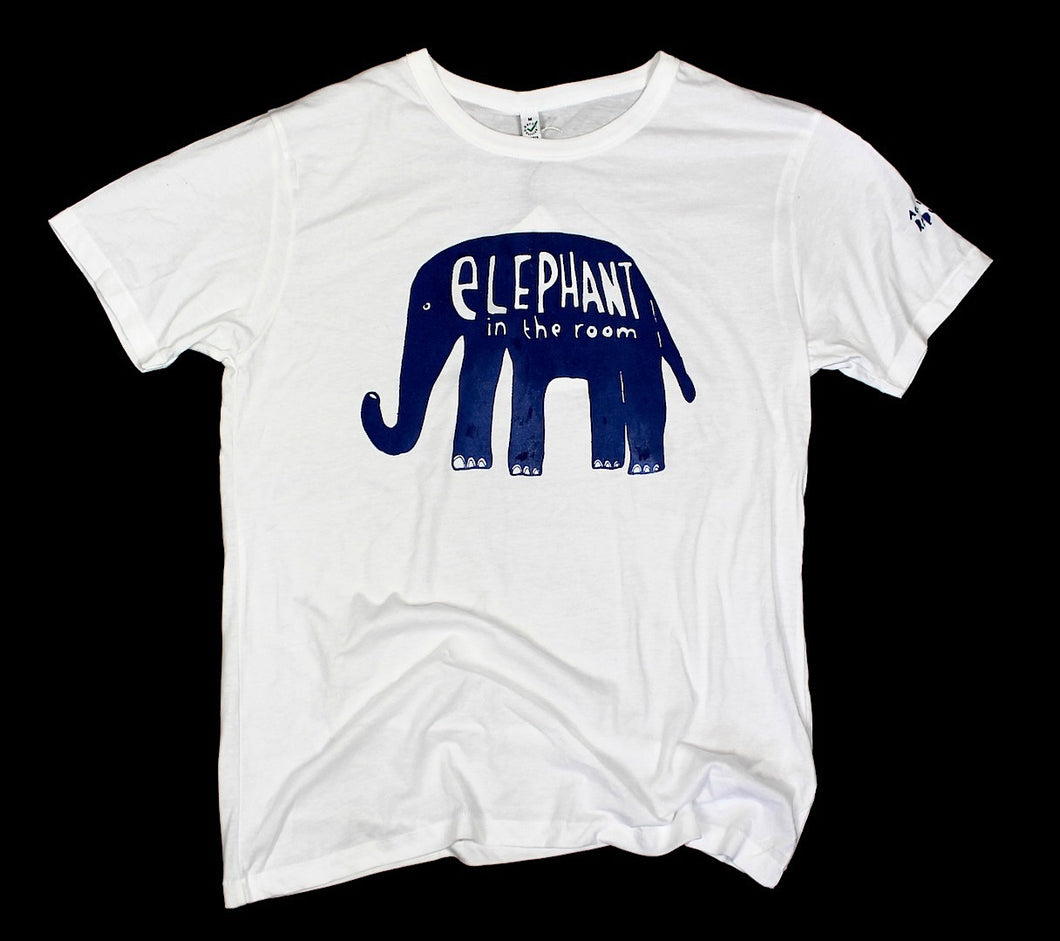 elephant in the room t-shirt, witty and original design on white