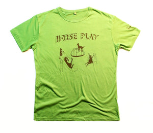 Horseplay t-shirt, unusual and witty design, original t-shirt on green bamboo