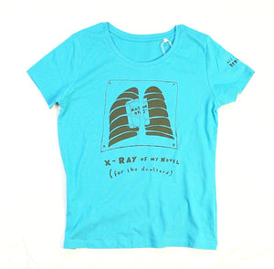 Novel in me unusual and witty t-shirt in blue for women