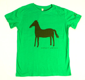 Horse t-shirt for children, cool and fun t-shirt for kids, green