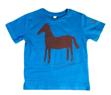 Load image into Gallery viewer, Horse t-shirt for children, cool and fun t-shirt for kids, blue