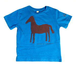 Horse t-shirt for children, cool and fun t-shirt for kids, blue