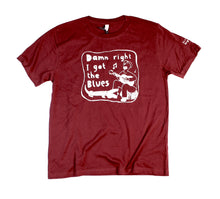 Load image into Gallery viewer, i got blues t-shirt, unusual and witty shirt for men in maroon