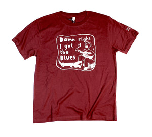 i got blues t-shirt, unusual and witty shirt for men in maroon