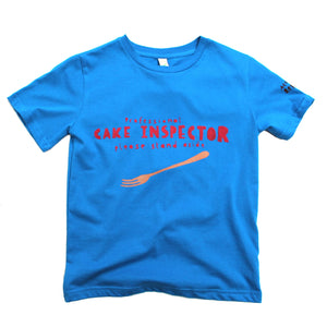 Cake eater t-shirt for kids in blue, cool and funny