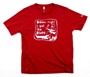 i got blues t-shirt, unusual and witty shirt for men in red