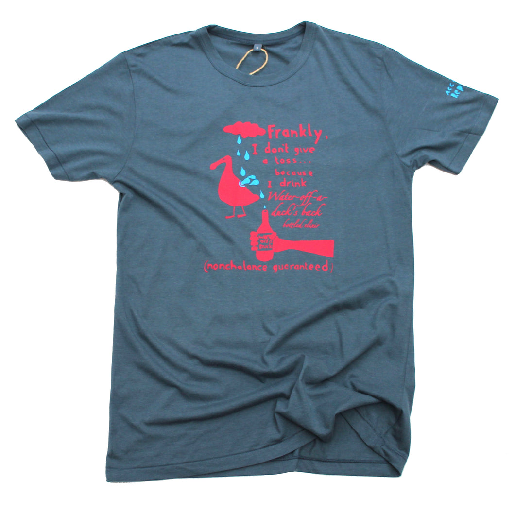 Water off a duck's back t-shirt, cool and witty t-shirt in blue