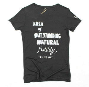unusual and witty t-shirt, unique and cool t-shirt, eco-friendly printing, futility for women
