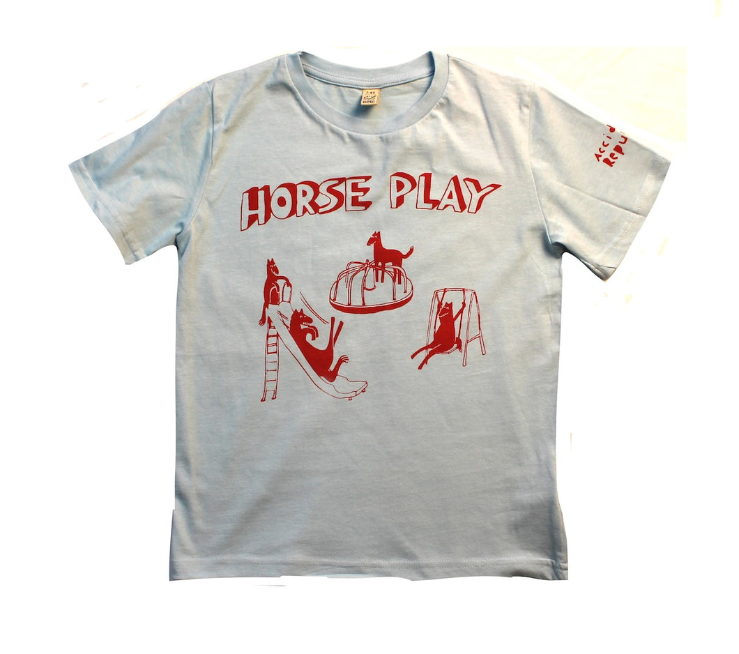 horseplay t-shirt for children, cool and funny design, light blue