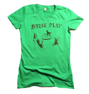 horseplay t-shirt for women, unusual and witty design, green
