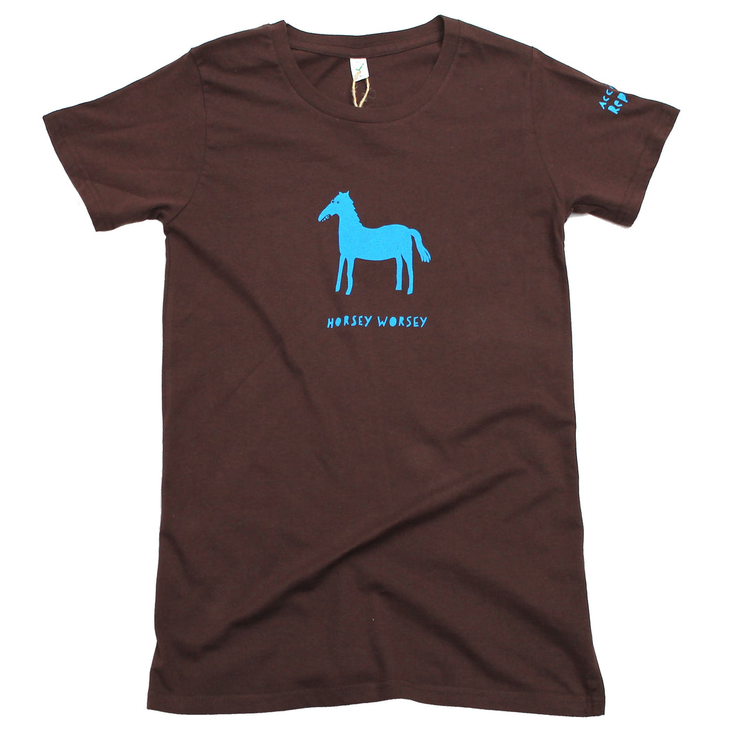 horsey worsey t-shirt, original and cool design, blue horse on brown shirt
