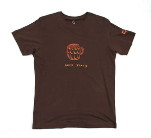 Orange pint of beer on brown jersey, unique and cool t-shirt for beer drinker