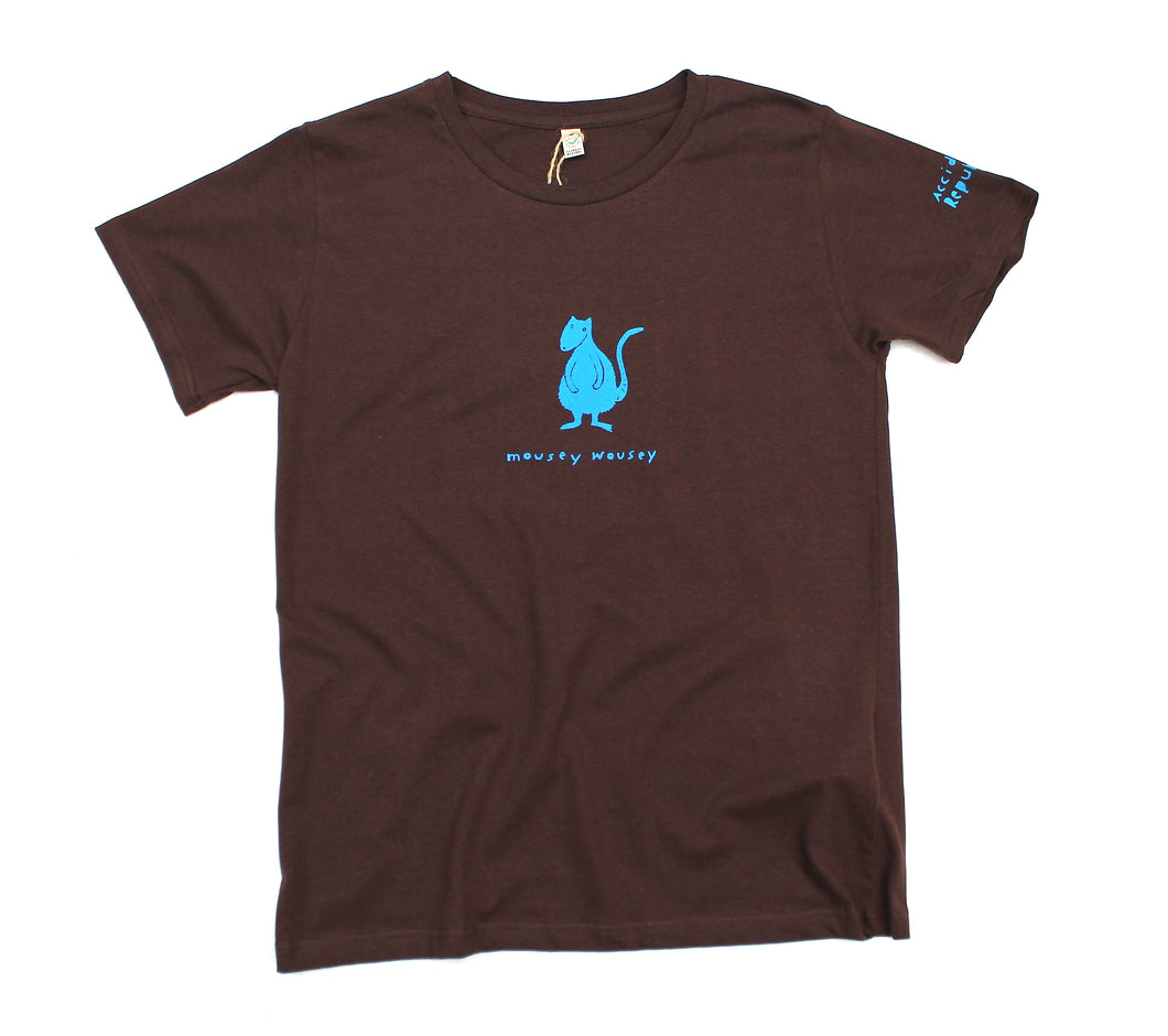 Mousey wousey t-shirt, blue print on brown jersey. Original cool design.