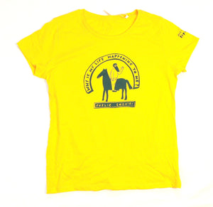 Why is my life happening to me, cool and original t-shirt in yellow, female fitted