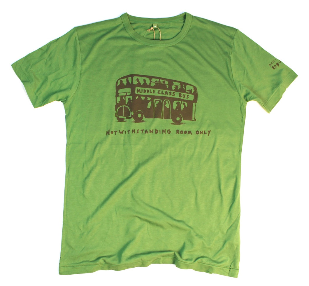 middle class bus, notwithstanding room only. Unusual and witty t-shirt. Leaf green bamboo jersey.