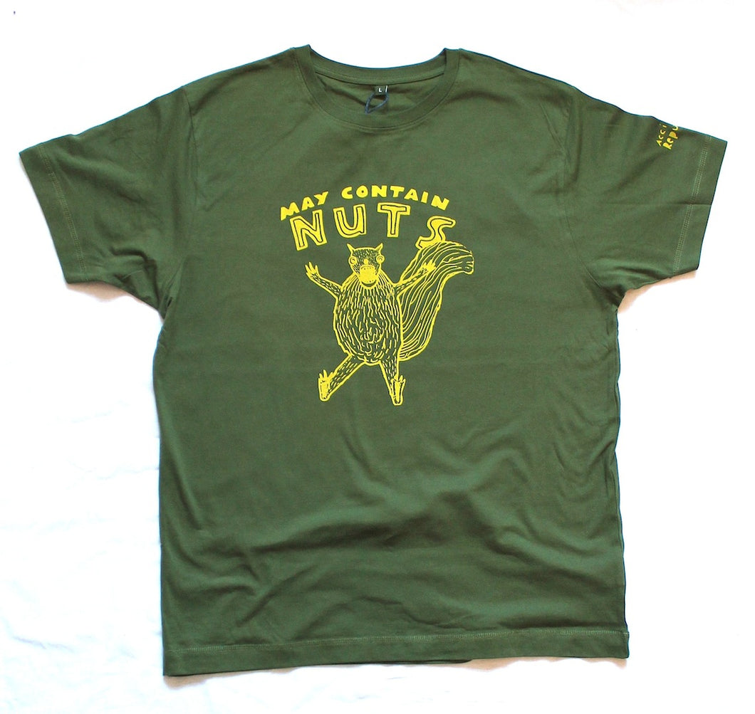 unusual and witty t-shirt, unique and cool t-shirt with squirrel