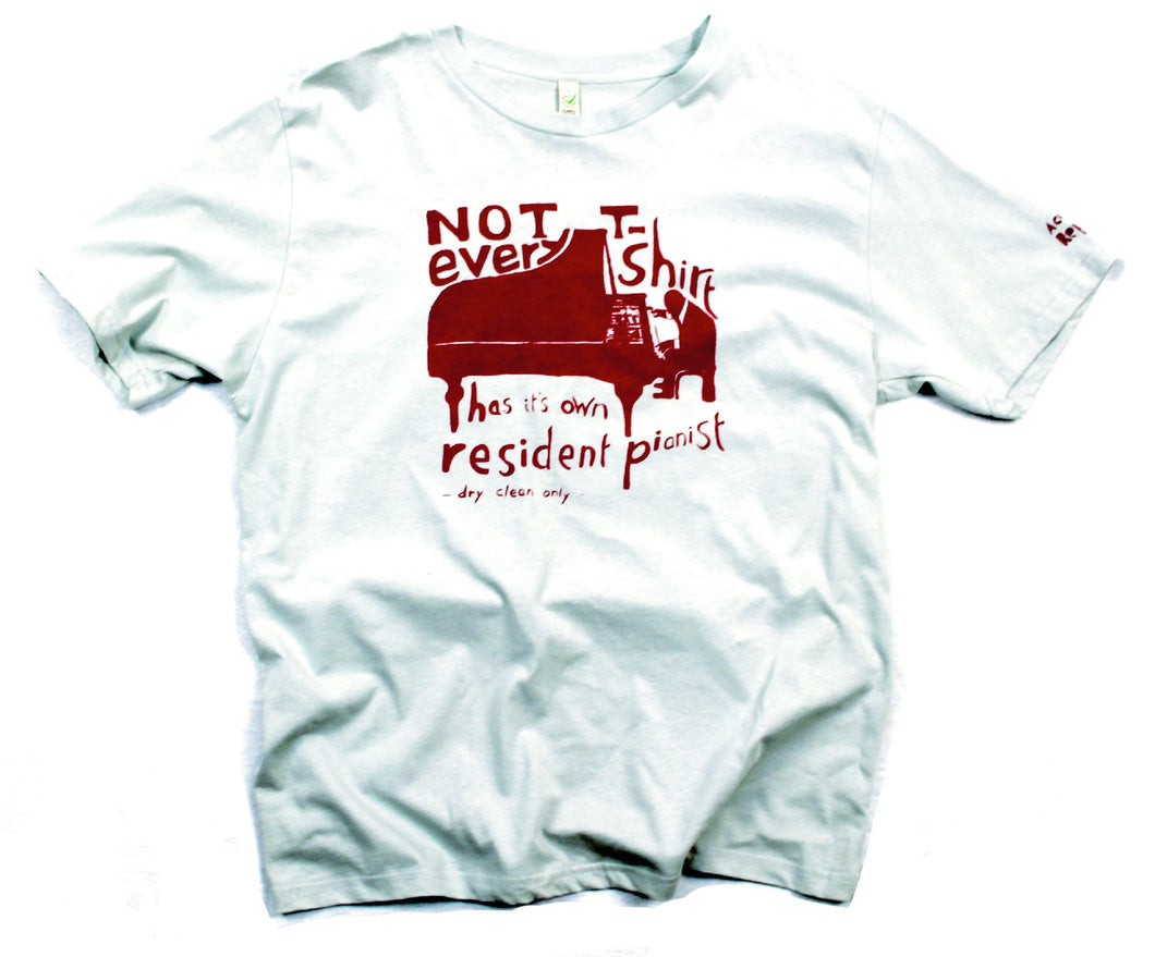 Resident pianist unusual and witty t-shirt, cool and original jersey in grey