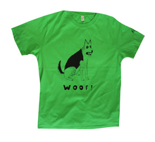 Load image into Gallery viewer, unusual and witty dog t-shirt, unique and cool t-shirt, eco-friendly printing, German Shepherd on green shirt