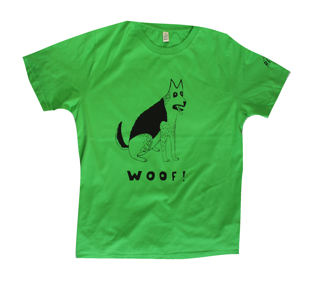 unusual and witty dog t-shirt, unique and cool t-shirt, eco-friendly printing, German Shepherd on green shirt