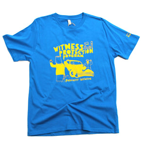 Witness protection program t-shirt, unusual and witty t-shirt, original design, blue