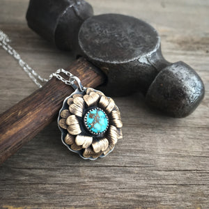Golden Turquoise Bloom Necklace