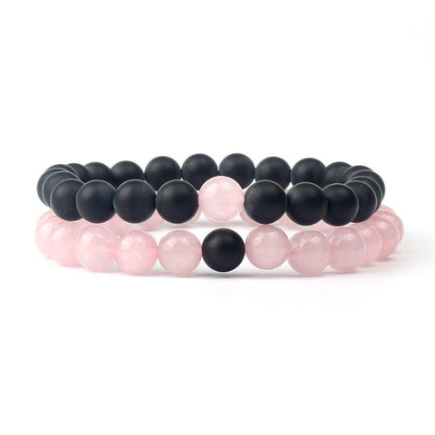 COUPLES BRACELET - ROSEQUARTZ + BLACK