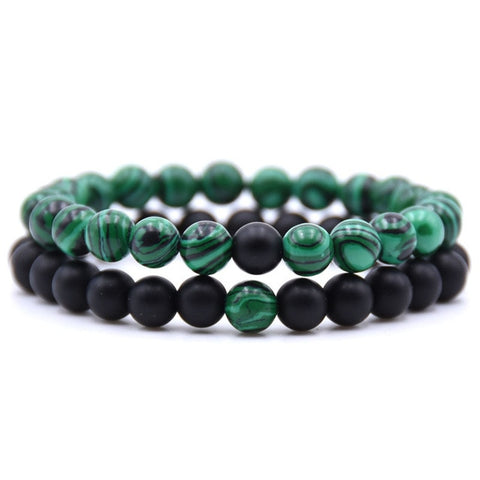 MALACHITE + BLACK COUPLES BRACELET