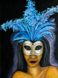 Blue Feather Venetian Mask