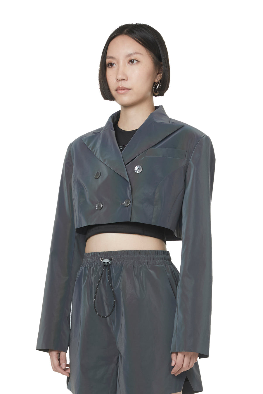 Chrome Reflective Cropped Blazer