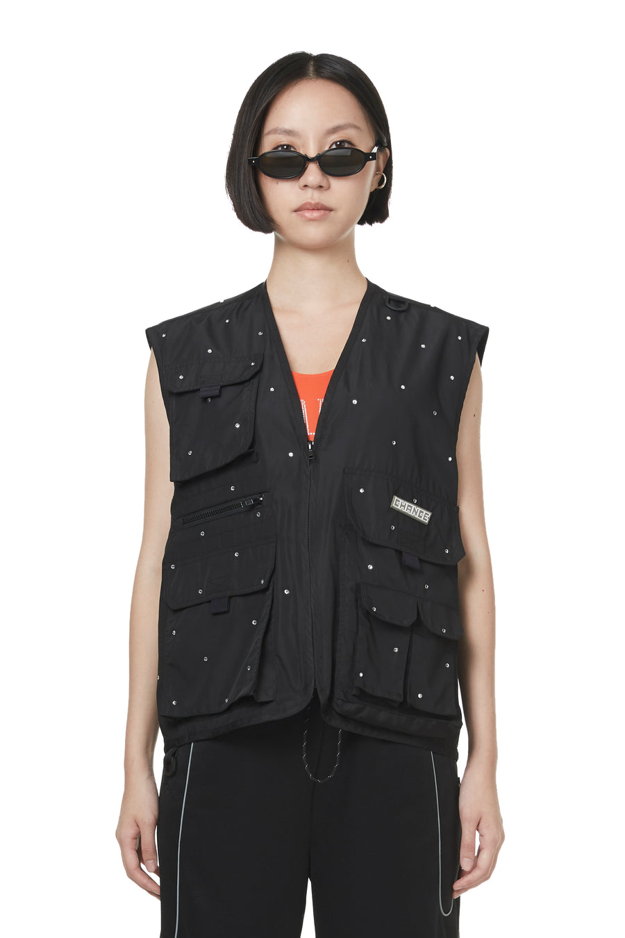 Black Sparkling Pocket Vest
