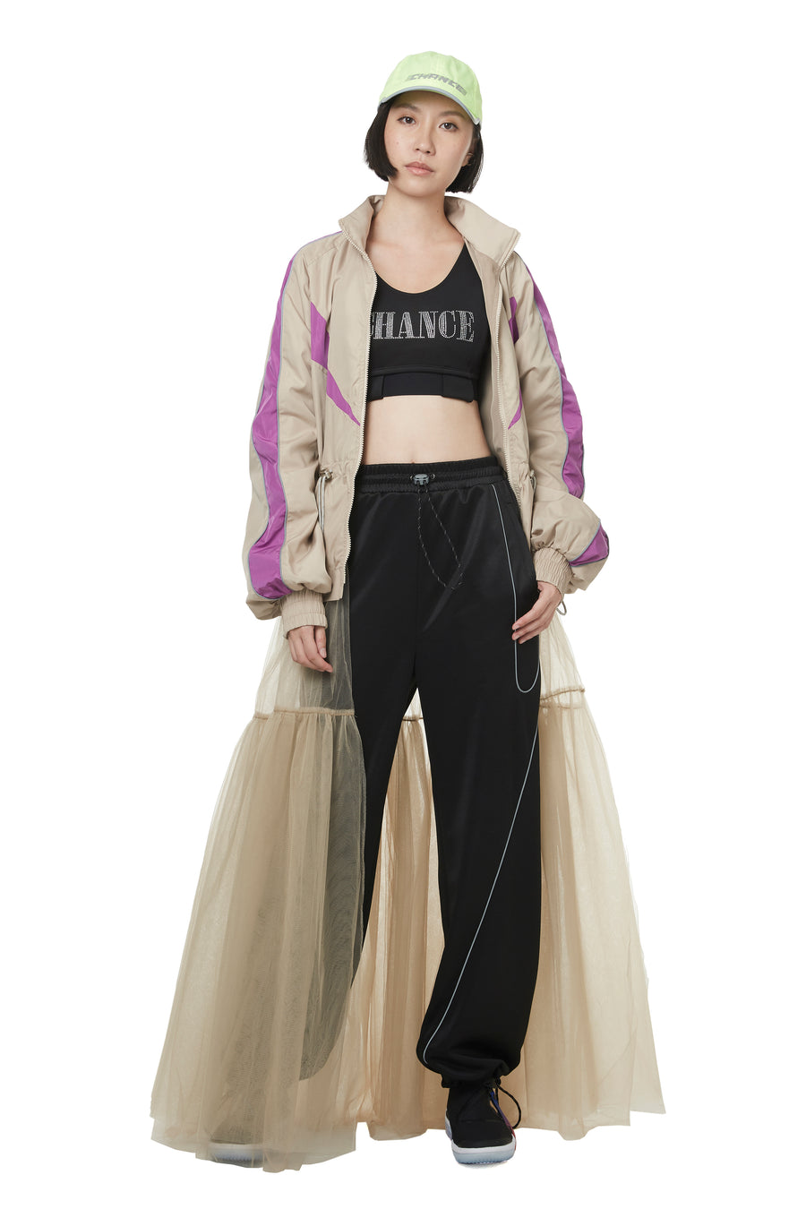 Detachable Tulle Bottom Track Jacket