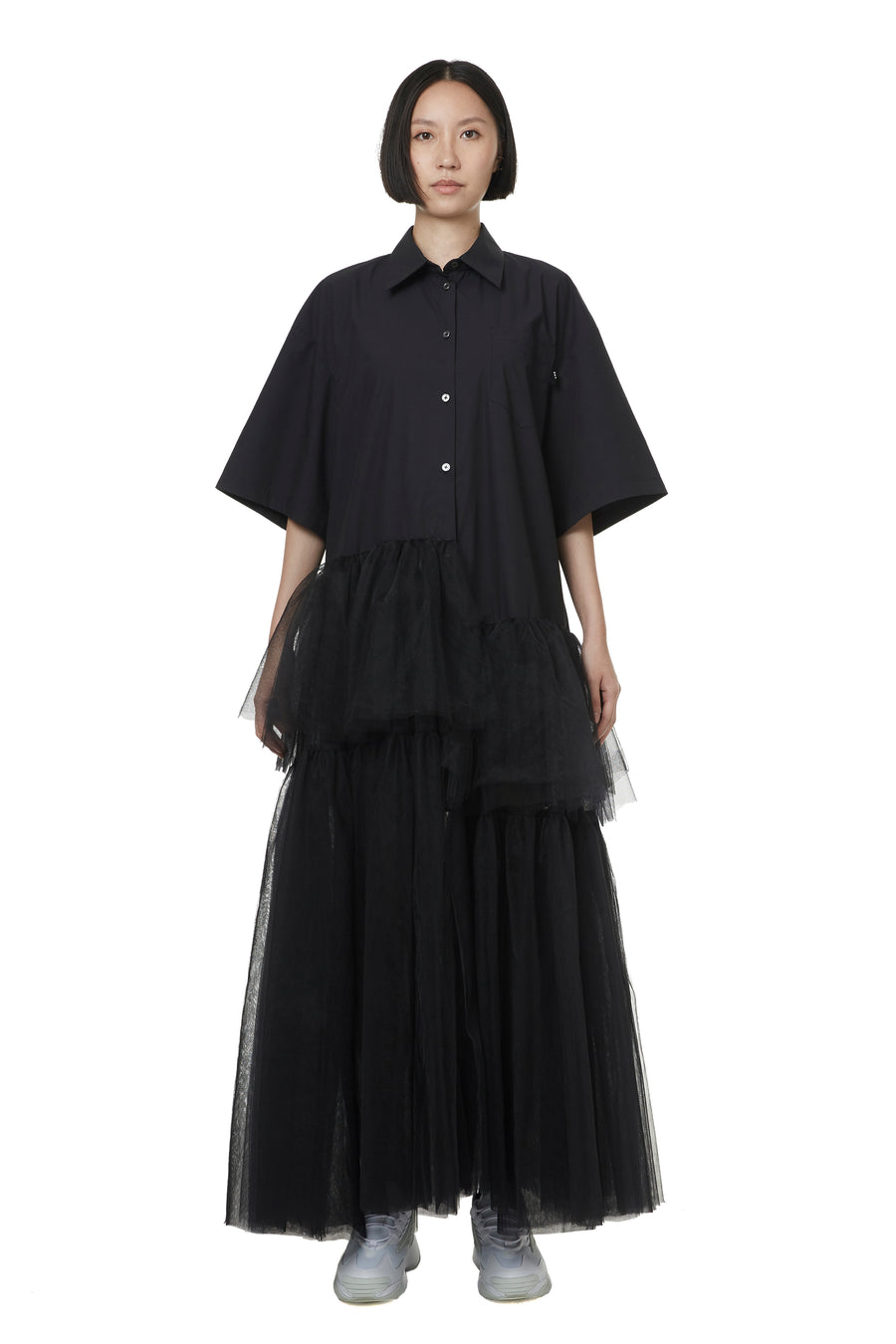 Black Tulle Shirt Dress