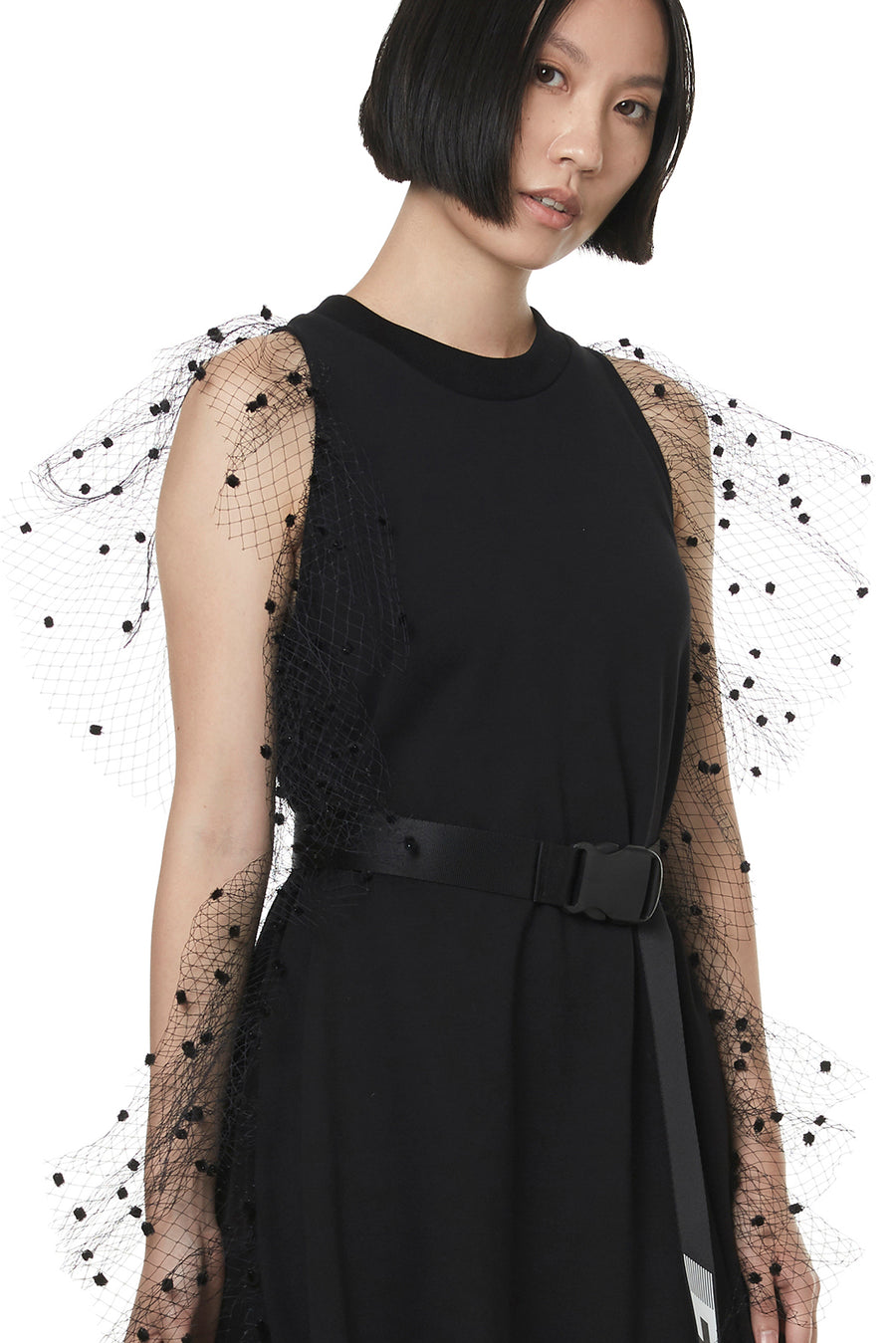 Black Dotted Tulle Sweat Dress