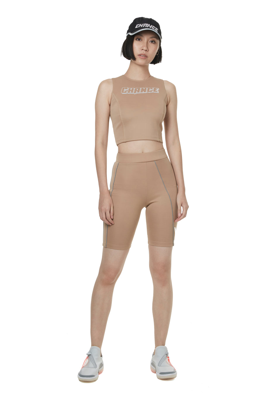 Beige Reflective Trimmed Cycling Pants