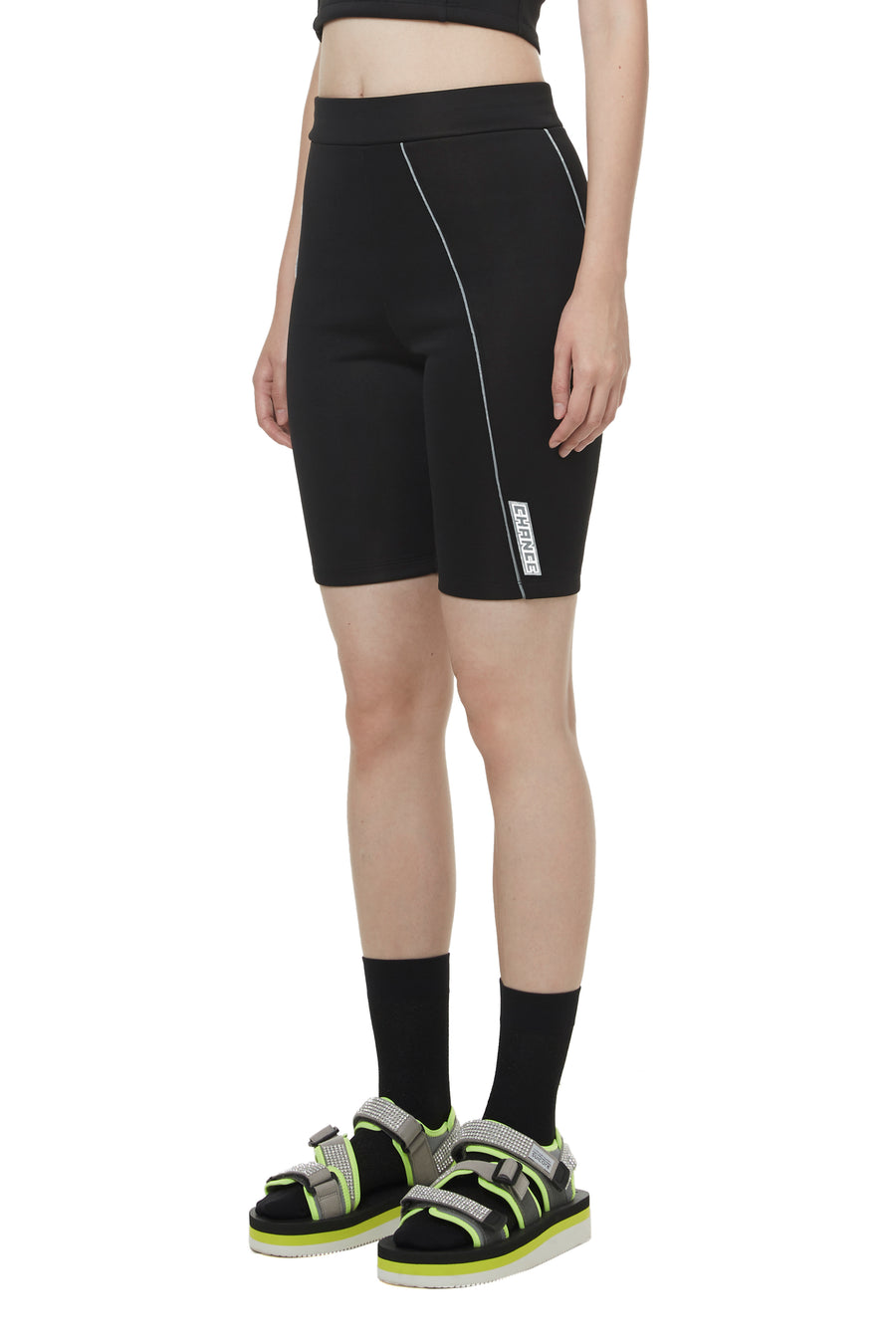 Black Reflective Trimmed Cycling Pants